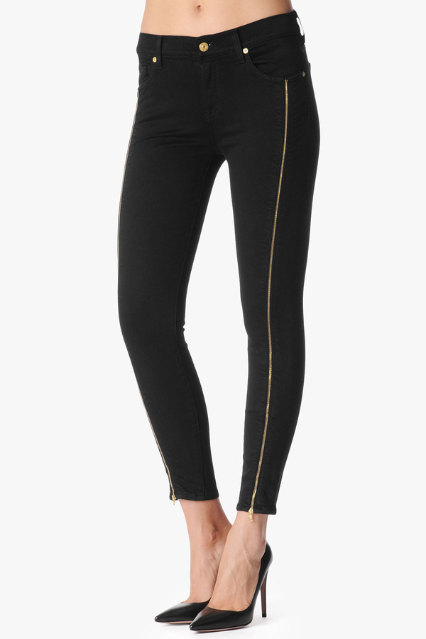 """7 For All Mankind The Slim Illusion Cropped Skinny With Double Leg Zips In Black (26"""" Inseam)"""