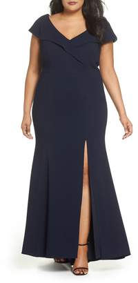 Xscape Evenings Foldover V-Neck Gown