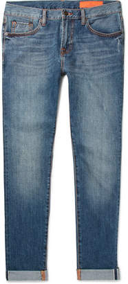 Jean Shop Kip Slim-Fit Tapered Distressed Selvedge Denim Jeans
