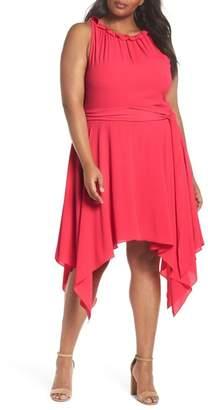Eliza J Handkerchief Hem Fit & Flare Dress (Plus Size)