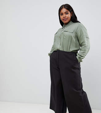 Asos DESIGN Curve canvas wide leg pants in navy