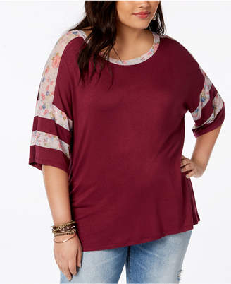 Eyeshadow Trendy Plus Size Mesh-Trim T-Shirt