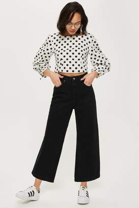 Topshop Clean Black Cropped Wide Leg Jeans