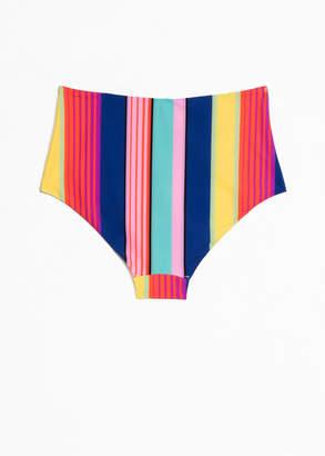 Striped High Bikini Bottoms