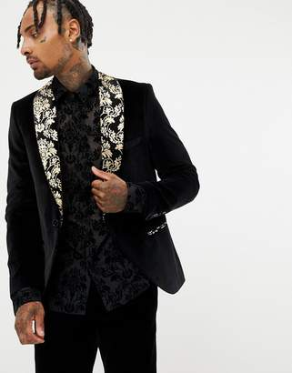 Twisted Tailor super skinny velvet blazer with wide printed lapel