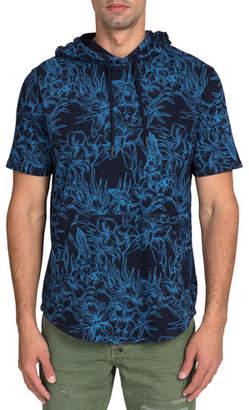 PRPS Men's Short-Sleeve Floral Fleece Hoodie