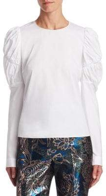 Peter Pilotto Gathered Puffed-Sleeve Blouse