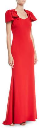 Badgley Mischka Crepe Column Gown w/ Twist Cap Sleeves