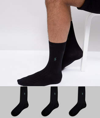 Polo Ralph Lauren 3 Pack Ribbed Socks Egyptian Cotton in Black