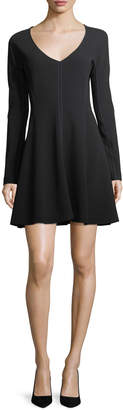 Diane von Furstenberg Long-Sleeve V-Neck Flare Dress