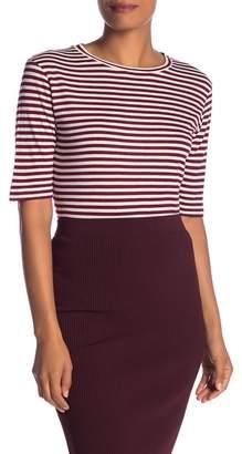 Vince Elbow Sleeve Stripe Silk Blend Tee