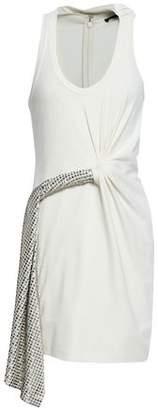 Alexander Wang Twist-Front Studded Stretch-Jersey Mini Dress