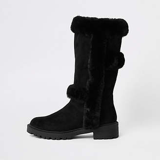 River Island Black faux fur lined knee high boots
