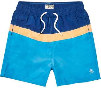 River Island Boys blue Penguin colour block swim shorts