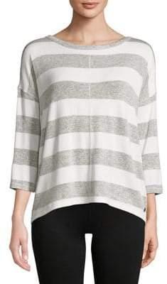 Calvin Klein Striped Quarter-Sleeve Hi-Lo Pullover