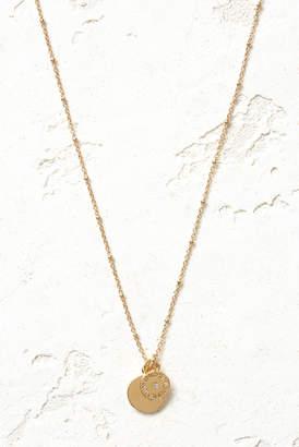 Vanessa Mooney Gold The Royals Mini VM Diamond Logo & Pendant Necklace