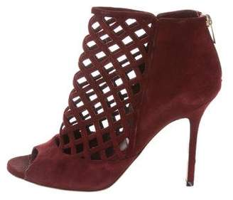 Jimmy Choo Suede Peep-Toe Booties