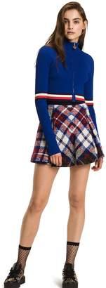 Tommy Hilfiger Wool Blend Pleated Tartan Skirt