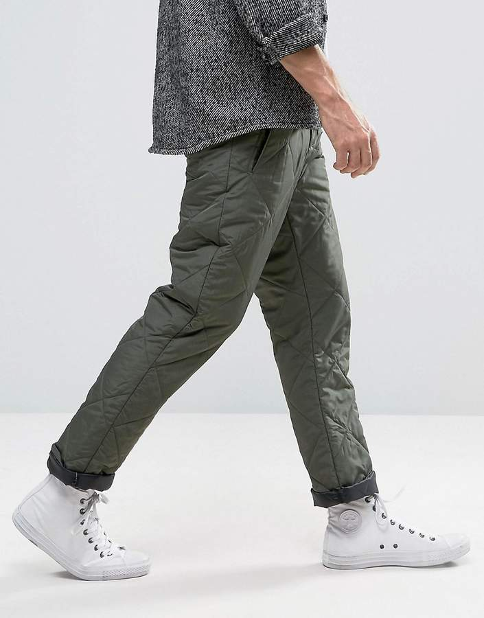 Asos Straight Leg Pants In Quilted Khaki