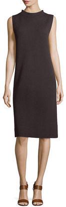 Eileen Fisher Sleeveless Funnel-Neck Wool Sheath Dress $248 thestylecure.com