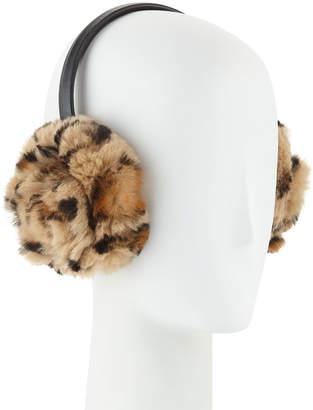 Adrienne Landau Petal Rosette Rabbit Fur Earmuffs, Leopard