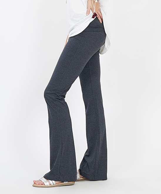 Charcoal Mineral Wash Fold-Over Yoga Pants - Women