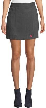 Grey Lab Heart Patch Wool-Blend Mini Skirt