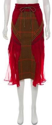 Sacai 2018 Wool Houndstooth Wave Paneled Skirt