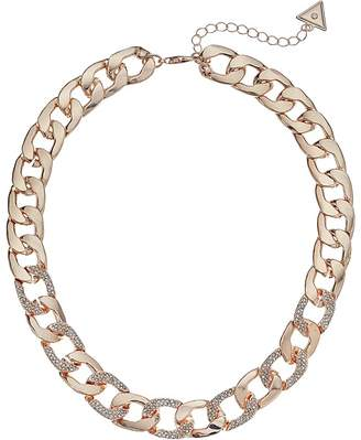 GUESS Chain Link Necklace with Pave Accents 16 with 2 Extender Necklace
