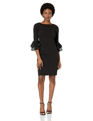 Calvin Klein Women's Petite Sheath with Three Quarter Chiffon Bell Sleeve Dress