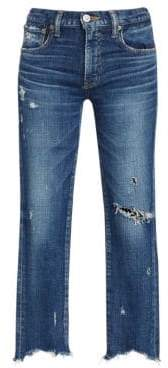 Moussy Glendele Mid-Rise Frayed Skinny Ankle Jeans
