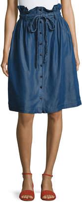 Neiman Marcus Paper Bag-Waist Button-Front Skirt, Blue $69 thestylecure.com