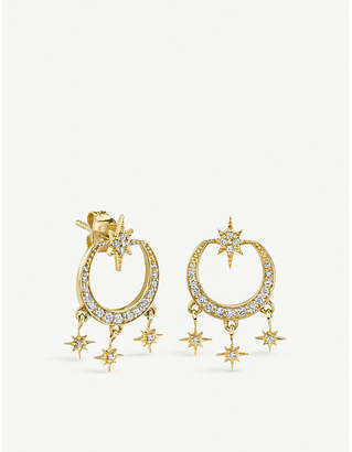 Sydney Evan The Alkemistry 14ct yellow gold and diamond starburst chandelier earrings