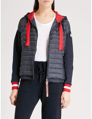 Moncler Quilted-panel hooded shell and jersey jacket