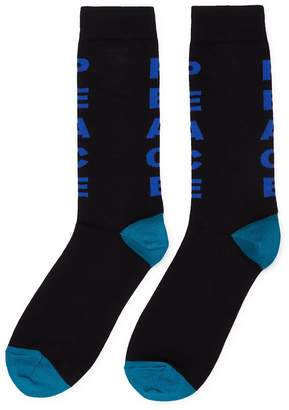Paul Smith 'Peace' slogan intarsia socks