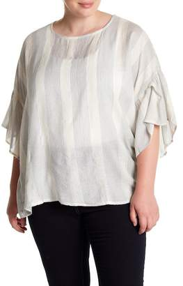 Bobeau Metallic Stitch Striped Blouse (Plus Size)