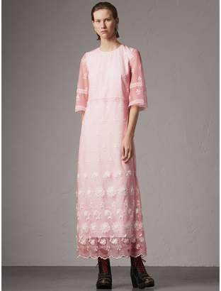 Burberry Flare-sleeve Embroidered Tulle Dress
