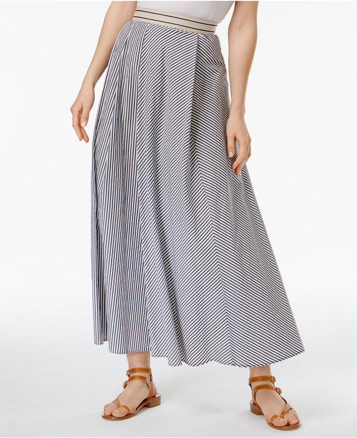 Max MaraWeekend Max Mara Aulla Cotton Striped A-Line Maxi Skirt