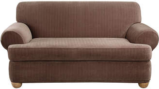 Sure Fit Stretch Pinstripe 2-pc. T-Cushion Loveseat Slipcover