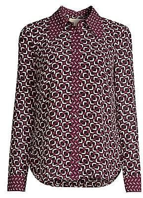 MICHAEL Michael Kors Women's Mod Foulard Button Shirt
