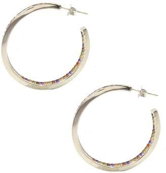 Marquis Savvy Cie Sterling Silver Multi-Color CZ Hoop Earrings