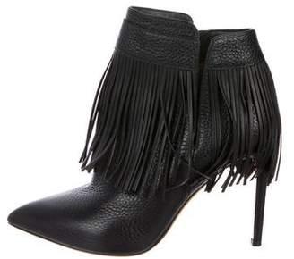 Valentino Leather Fringe Booties