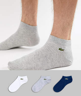 Lacoste Sport 3 Pack Logo Sneaker Socks In White/Gray/Navy