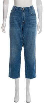 J Brand High-Rise Straight-Leg Distressed Jeans