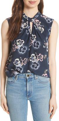 Rebecca Taylor Floral Knotted Silk Top