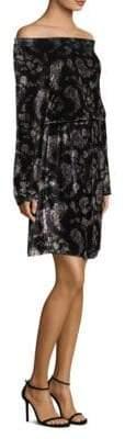 Rebecca Taylor Jewel Off-The-Shoulder Velvet Dress