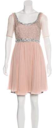 Marchesa Silk Embellished Dress