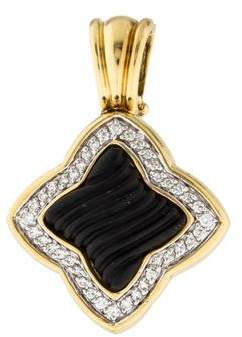 David Yurman 18K Onyx & Diamond Quatrefoil Enhancer $2,195 thestylecure.com
