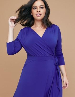 Lane Bryant 3/4 Sleeve Matte Jersey Wrap Dress