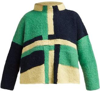 Eckhaus Latta Uni Weave Panelled Wool Blend Sweater - Womens - Green Multi